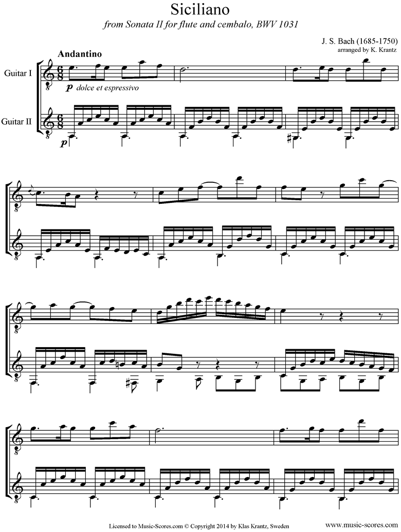 Front page of BWV 1031: Sonata No.2: Siciliano: 2 Guitars. A mi sheet music