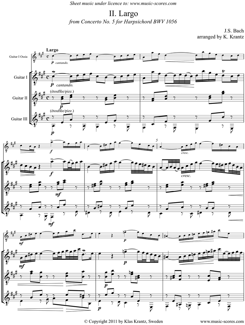 Front page of Cantata 156, 5th Concerto: Arioso: Guitar Trio sheet music