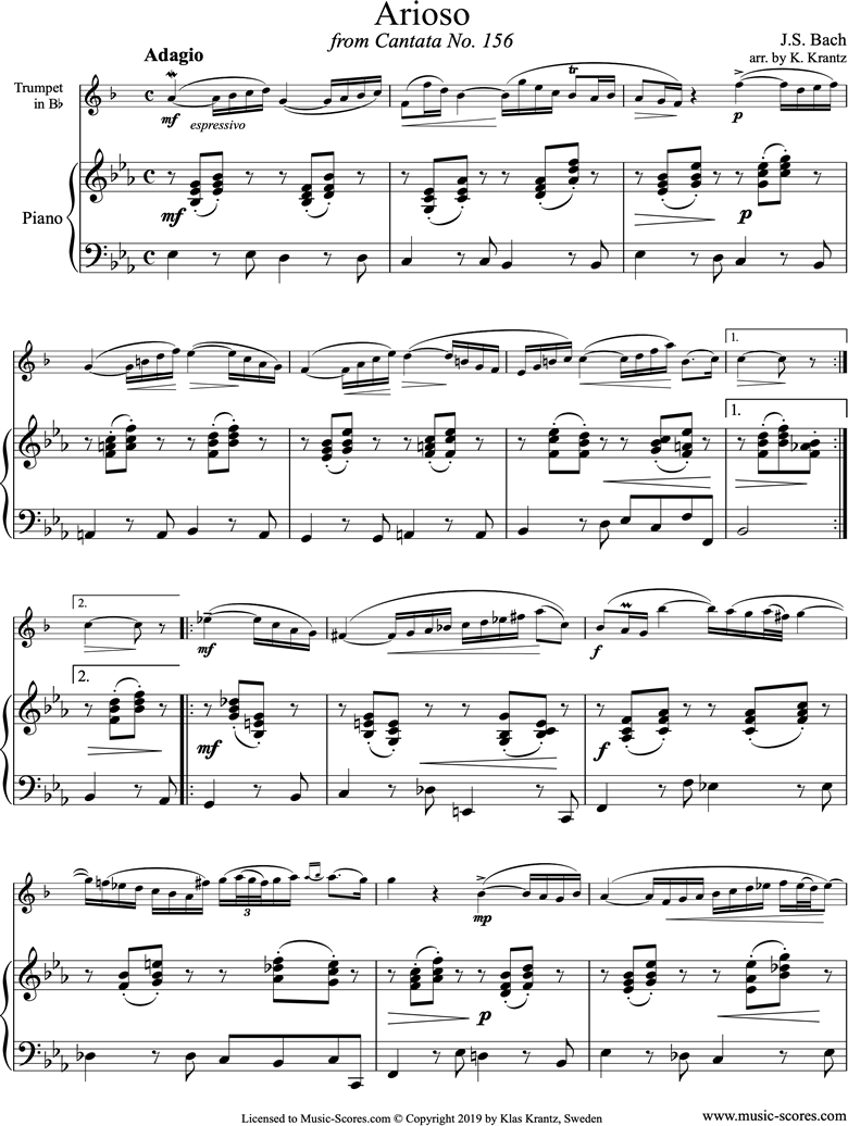 Front page of Cantata 156, 5th Concerto: Arioso: Trumpet, Piano sheet music