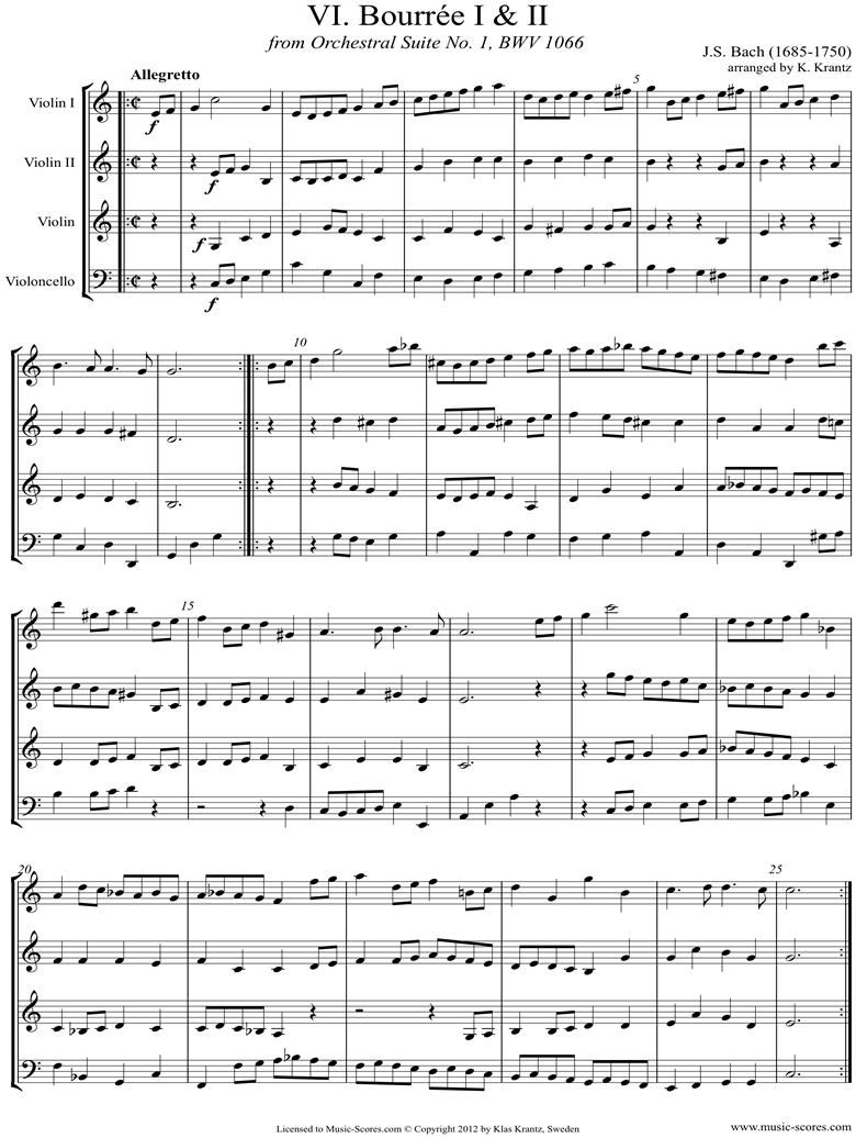Front page of BWV 1066, 6th mvt: Two Bourrees: 3 Violins, Cello sheet music