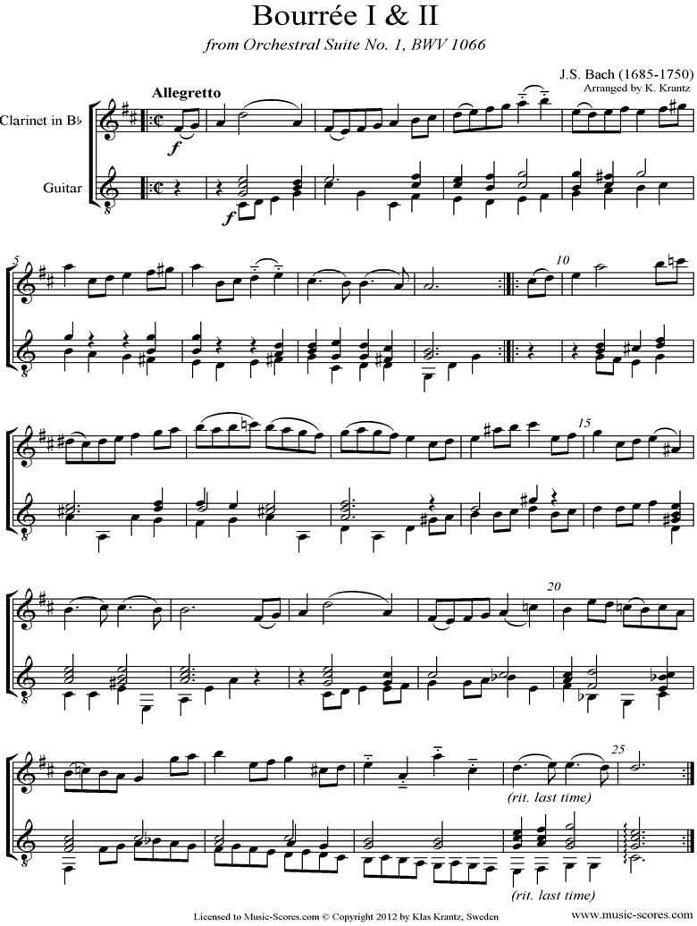 BWV 1066, 6th mvt: Two Bourrees: Clarinet, Guitar by Bach