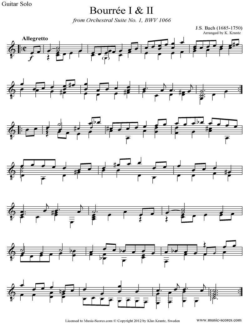 BWV 1066, 6th mvt: Two Bourrees: Guitar solo by Bach