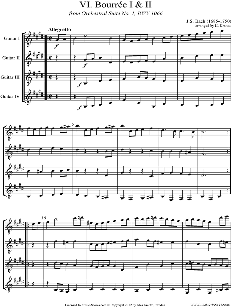 Front page of BWV 1066, 6th mvt: Two Bourrees: 4 Guitars sheet music