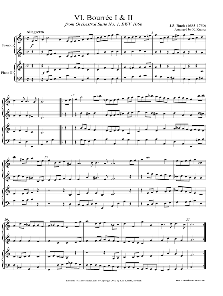 BWV 1066, 6th mvt: Two Bourrees: Two  Pianos by Bach