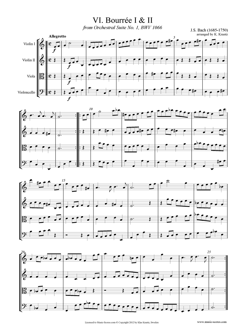 Front page of BWV 1066, 6th mvt: Two Bourrees: String 4 sheet music