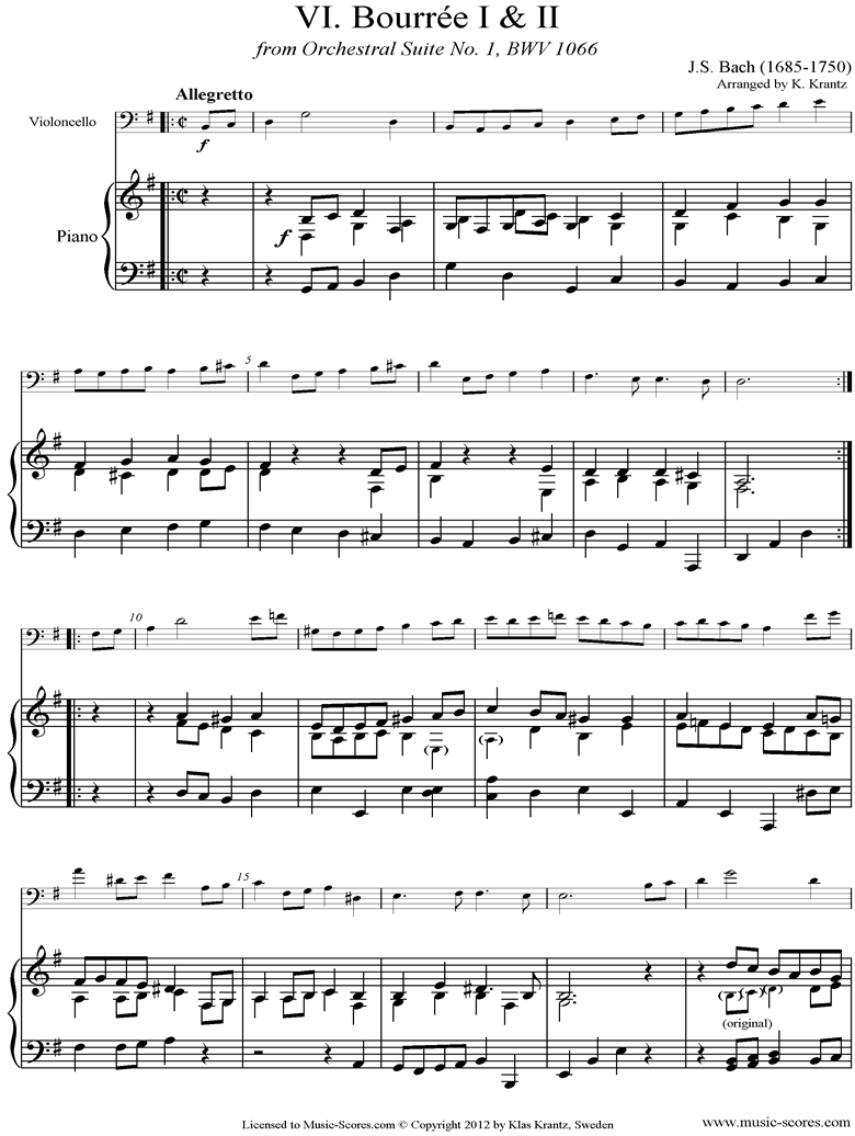 BWV 1066, 6th mvt: Two Bourrees: Cello, Piano by Bach