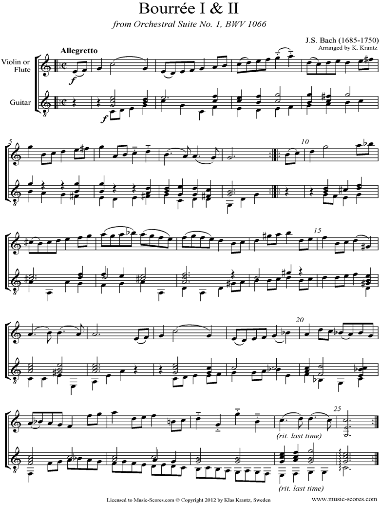 Front page of BWV 1066, 6th mvt: Two Bourrees: Violin, Guitar sheet music
