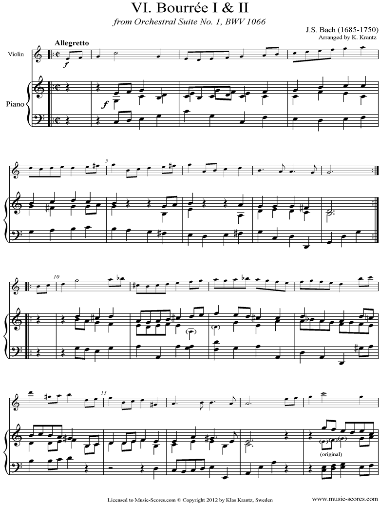 Front page of BWV 1066, 6th mvt: Two Bourrees: Violin, Piano sheet music