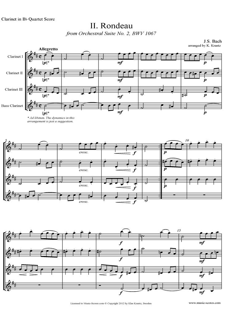 BWV 1067, 2nd mvt: Rondeau: 4 Clarinets by Bach