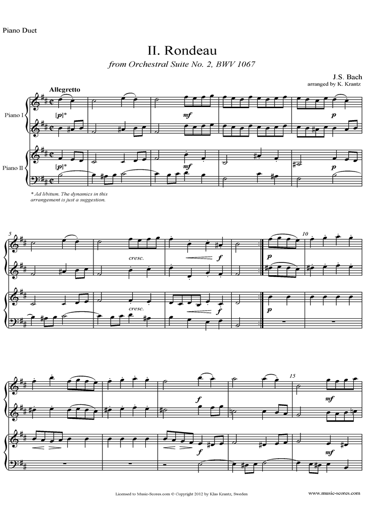 BWV 1067, 2nd mvt: Rondeau: 2 Pianos by Bach