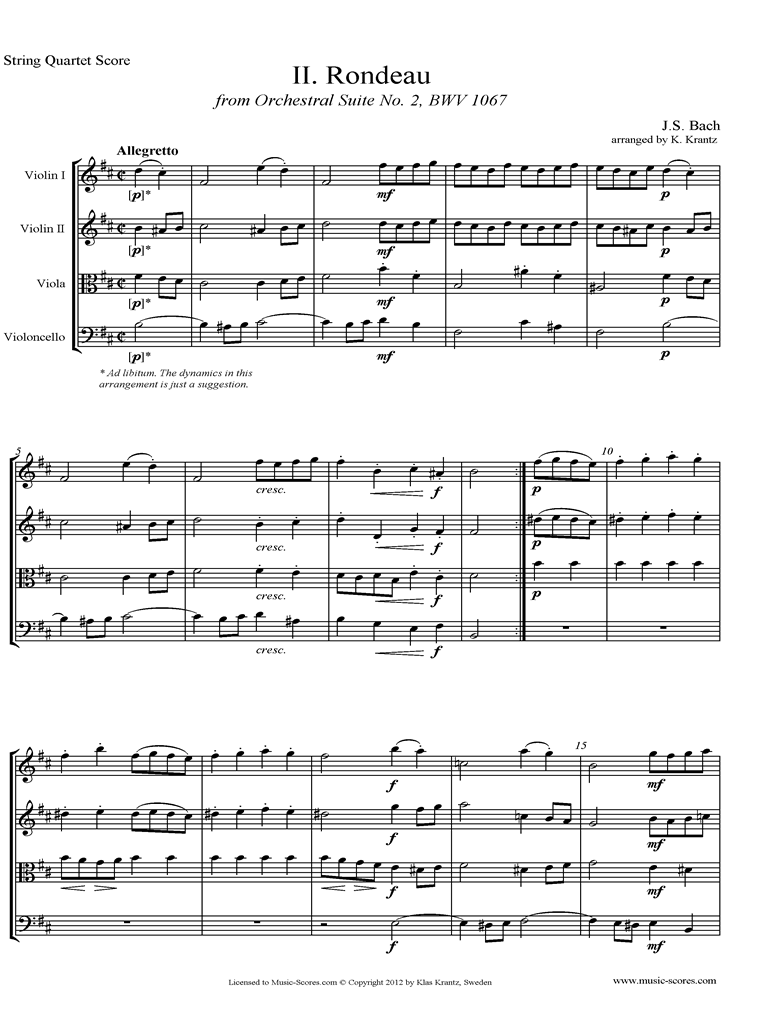 Front page of BWV 1067, 2nd mvt: Rondeau: String Quartet sheet music