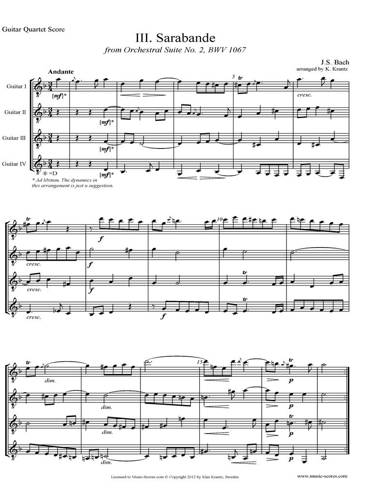 BWV 1067, 3rd mvt: Sarabande: 4 Guitars by Bach