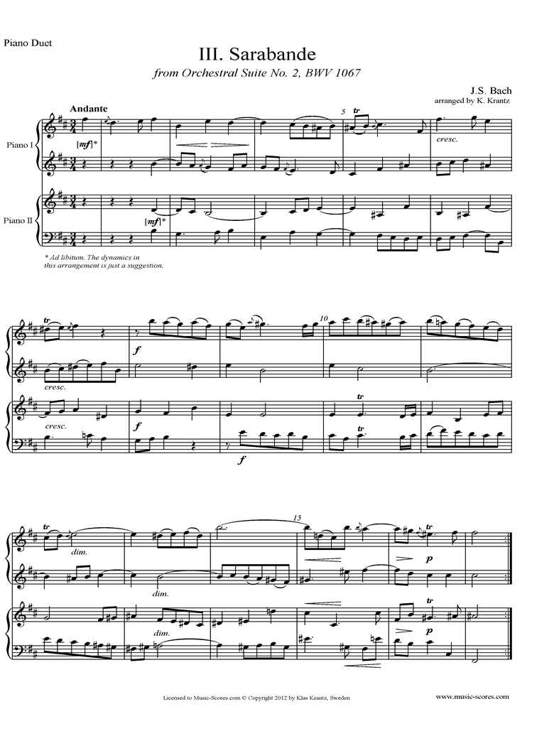 BWV 1067, 3rd mvt: Sarabande: 2 Pianos by Bach