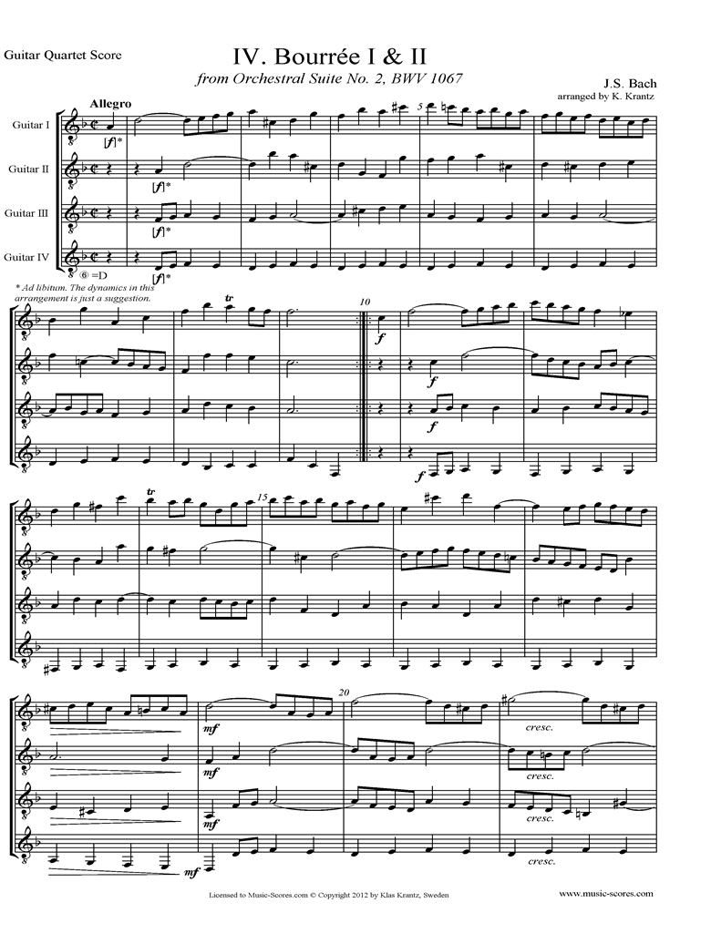 BWV 1067, 4th mvt: 2 Bourrees: 4 Guitars by Bach