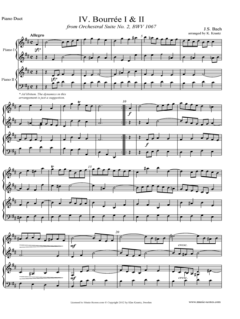 Front page of BWV 1067, 4th mvt: 2 Bourrees: 2 Pianos sheet music