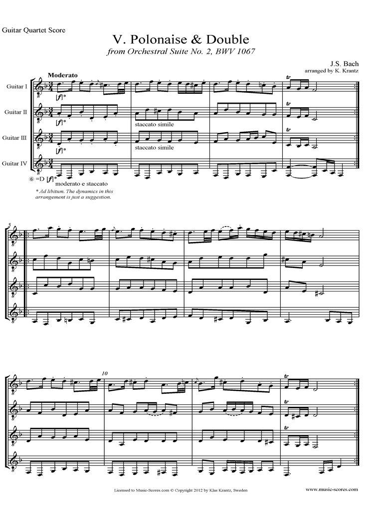Front page of BWV 1067, 5th mvt: Polonaise and Double: 4 Guitars sheet music
