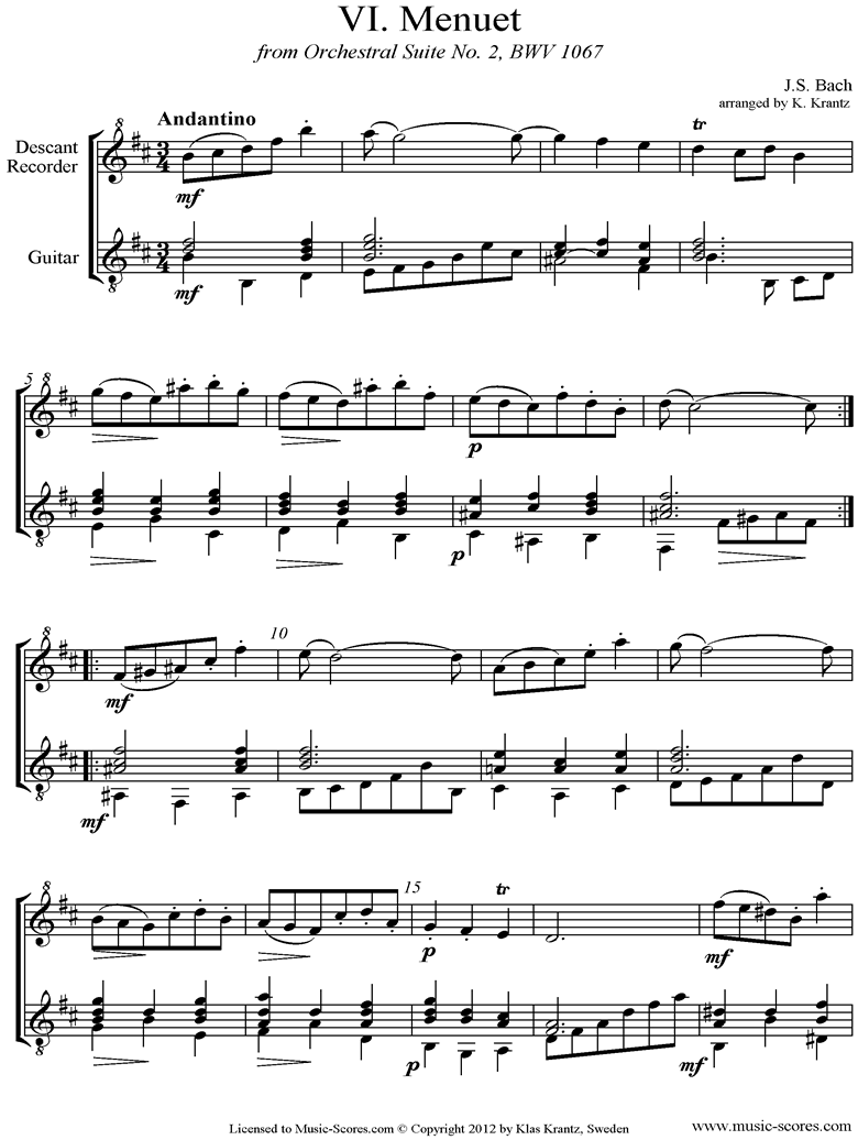 Front page of BWV 1067, 6th mvt: Minuet: Descant Recorder, Guitar sheet music
