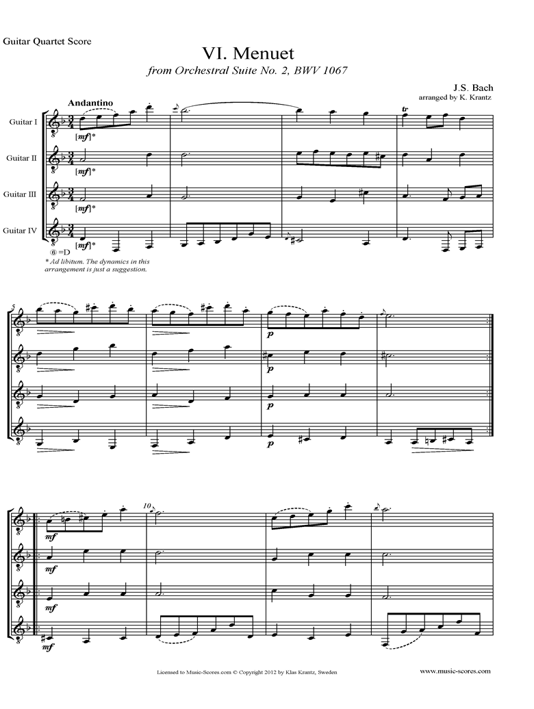 Front page of BWV 1067, 6th mvt: Minuet: 4 Guitars sheet music