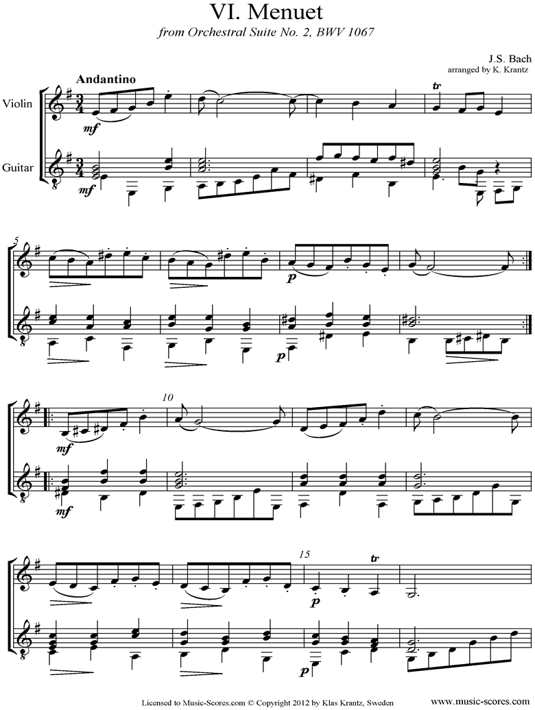Front page of BWV 1067, 6th mvt: Minuet: Violin and Guitar sheet music