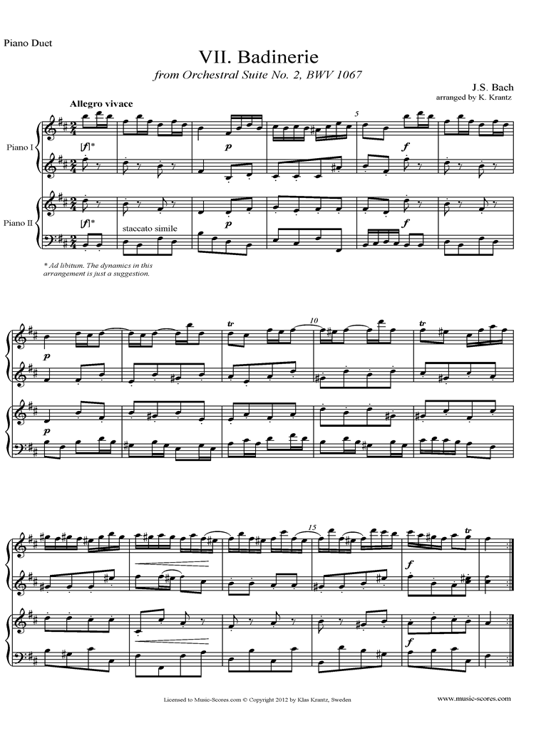BWV 1067, 7th mvt: Badinerie: 2 Pianos by Bach
