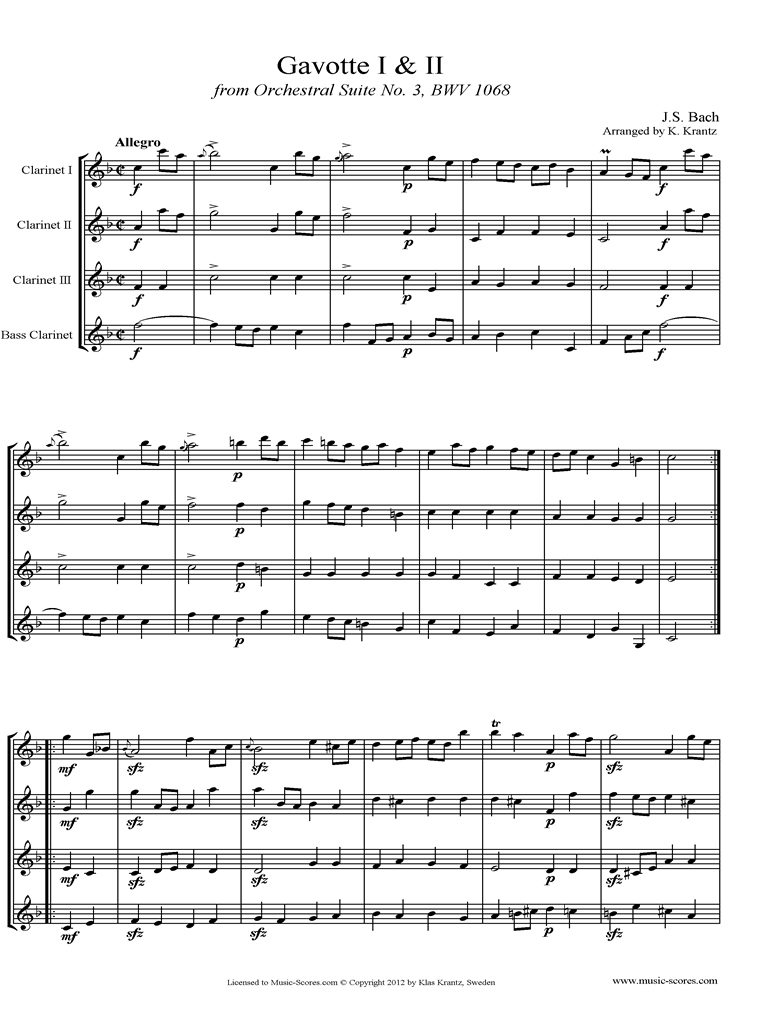 Front page of BWV 1068, 3rd mvt: 2 Gavottes: Clarinet Quartet sheet music