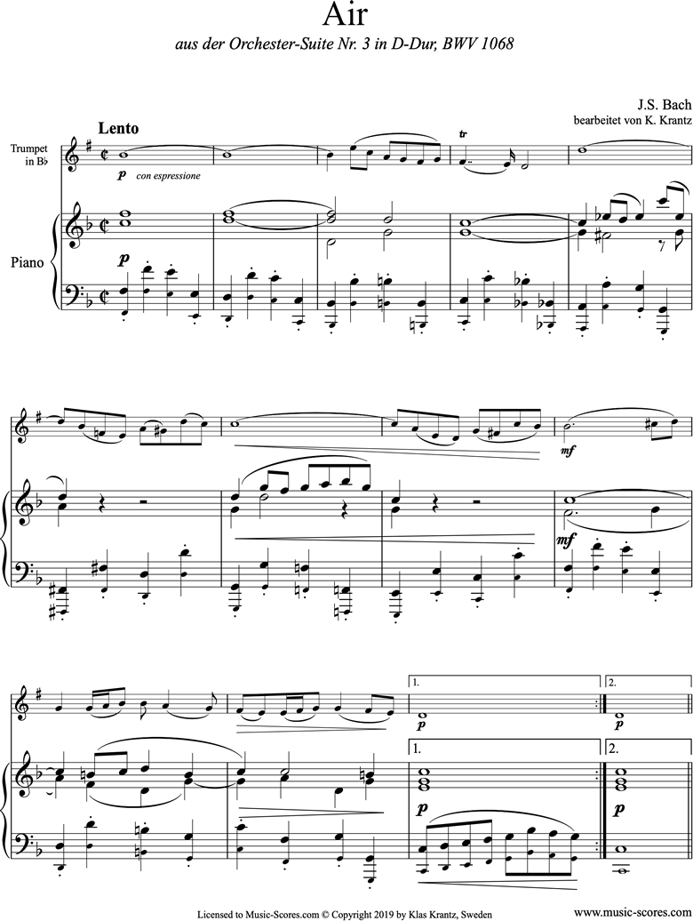 Front page of bwv 1068: Air on G: Trumpet and Piano. F major sheet music