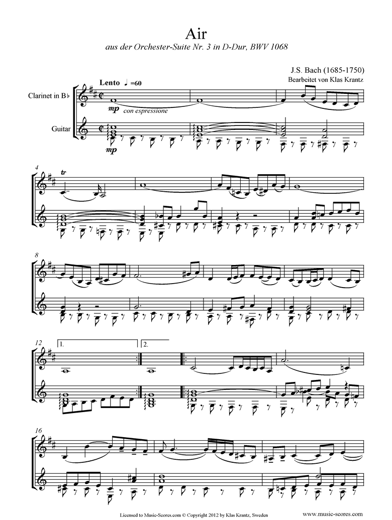 bwv 1068: Air on G: Clarinet and Guitar. by Bach