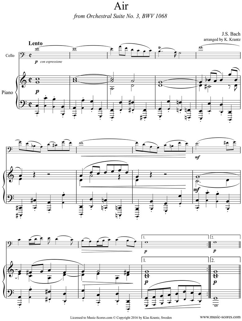 Front page of bwv 1068: Air on G: Cello and Piano. C ma sheet music