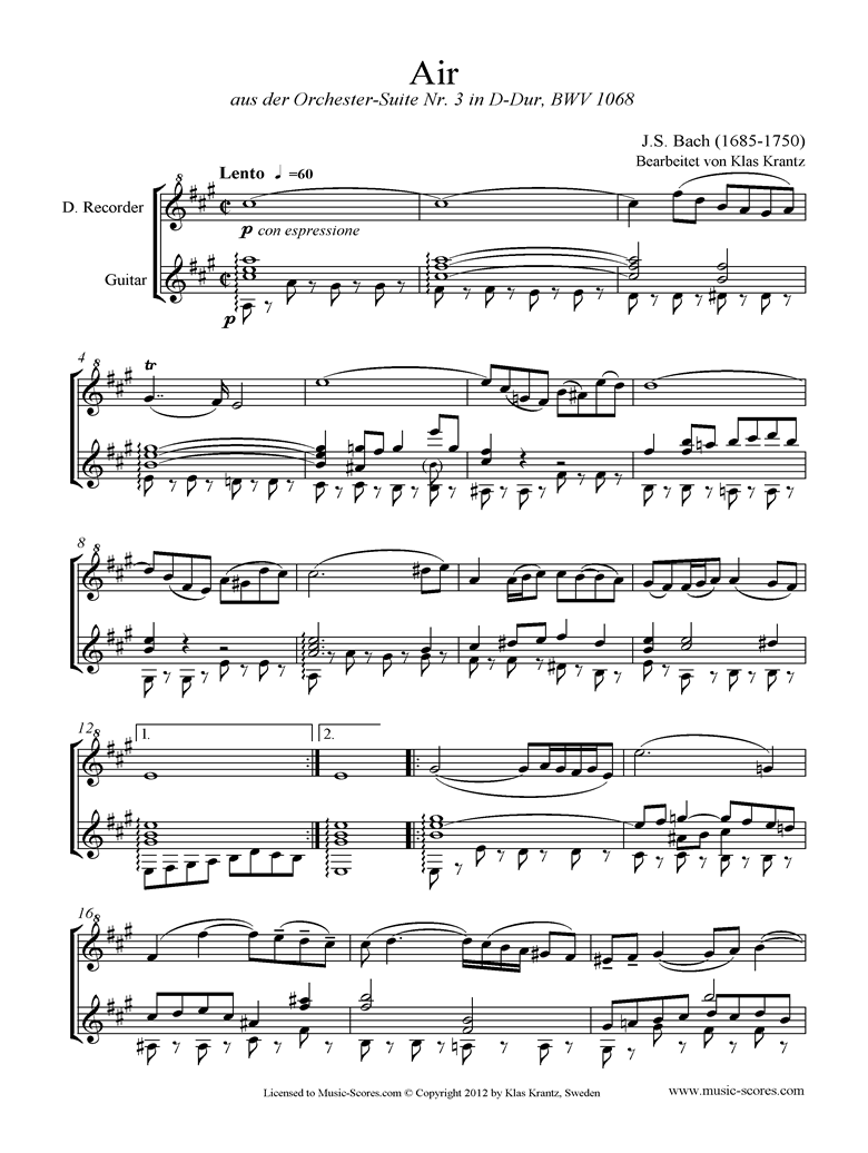 Front page of bwv 1068: Air on G: Descant Recorder and Guitar. sheet music