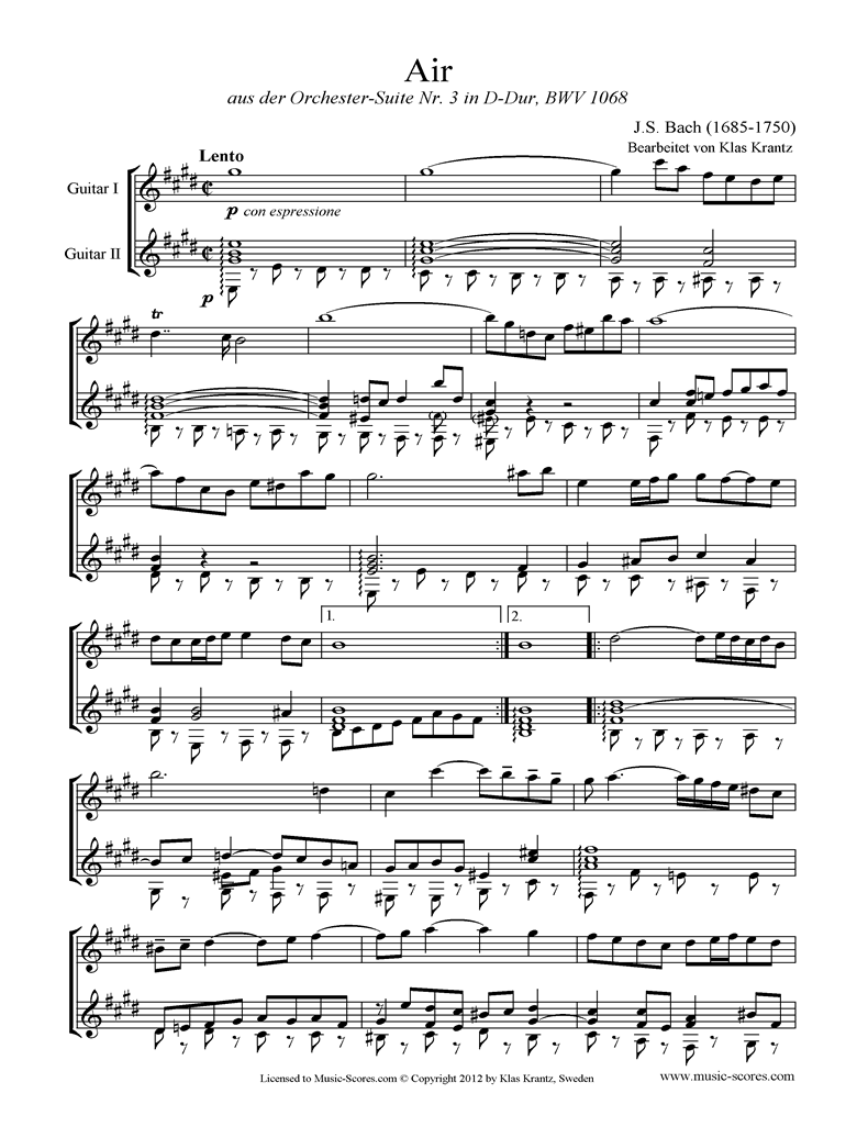 Front page of bwv 1068: Air on G: Two Guitars. E ma sheet music