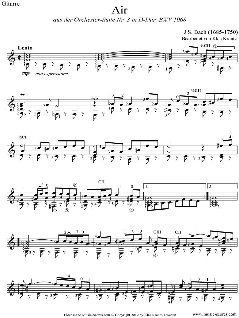 bwv 1068: Air on G: Guitar. by Bach