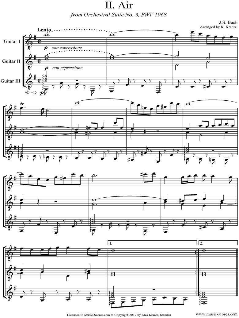 bwv 1068: Air on G: Three Guitars. by Bach