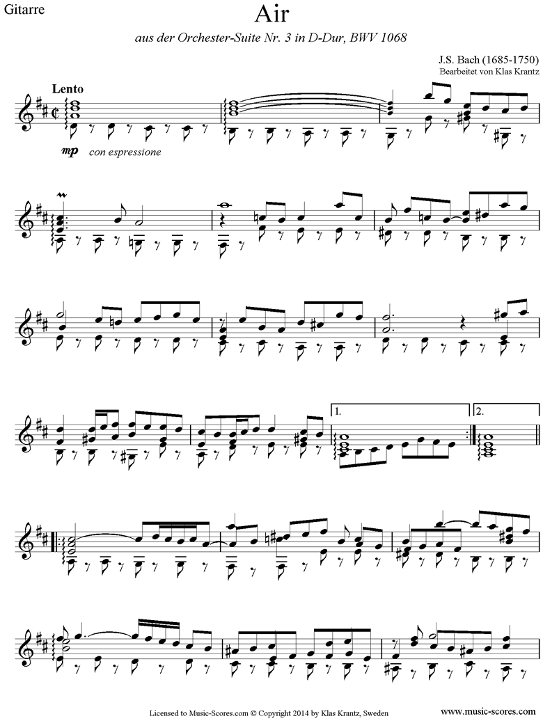 Front page of bwv 1068: Air on G: Guitar. D major. sheet music