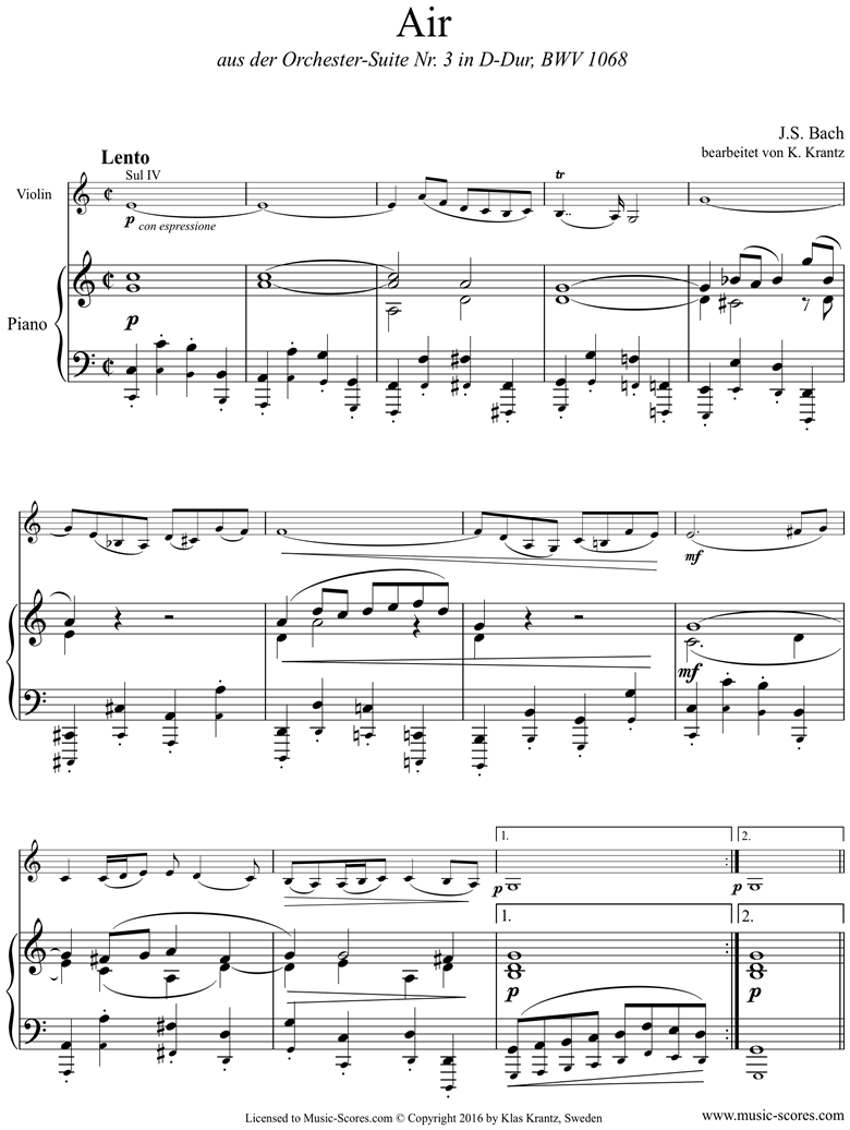 Front page of bwv 1068: Air on G:Violin and Piano. sheet music