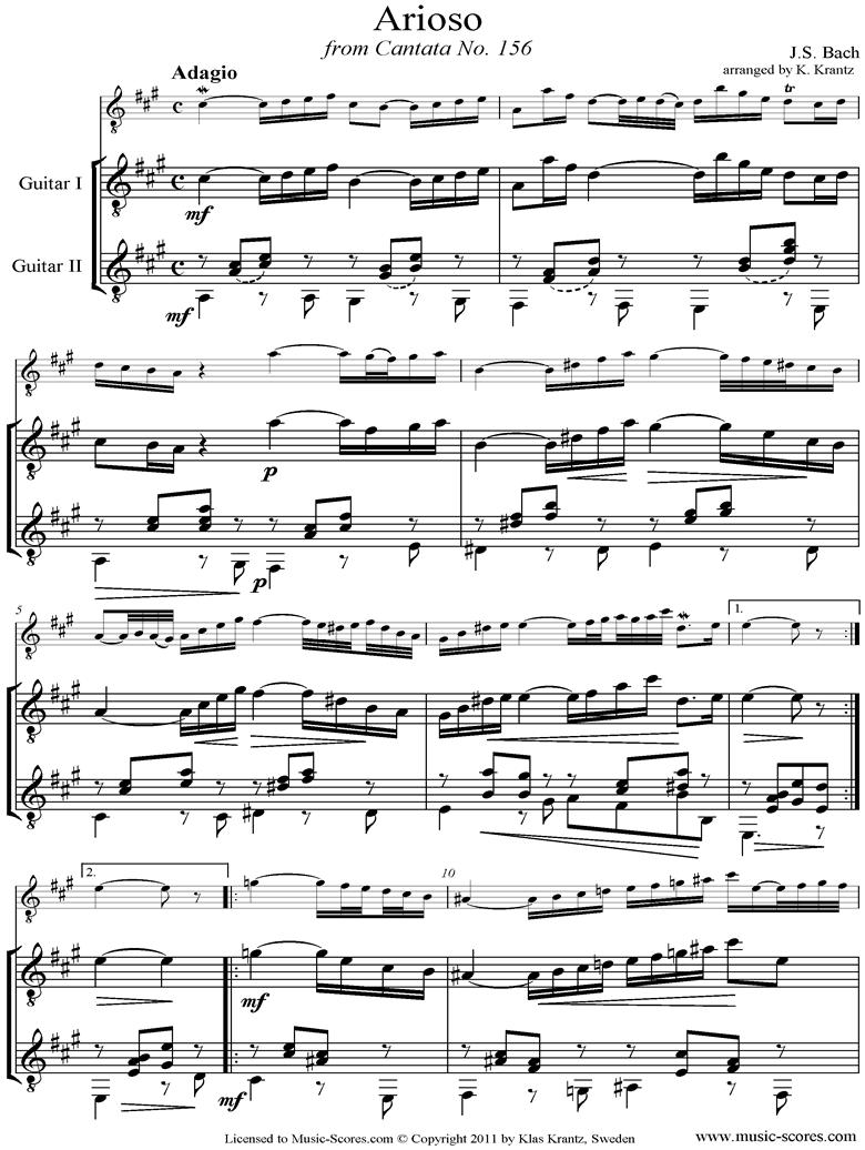 Cantata 156, 5th Concerto: Arioso: Guitar duet by Bach