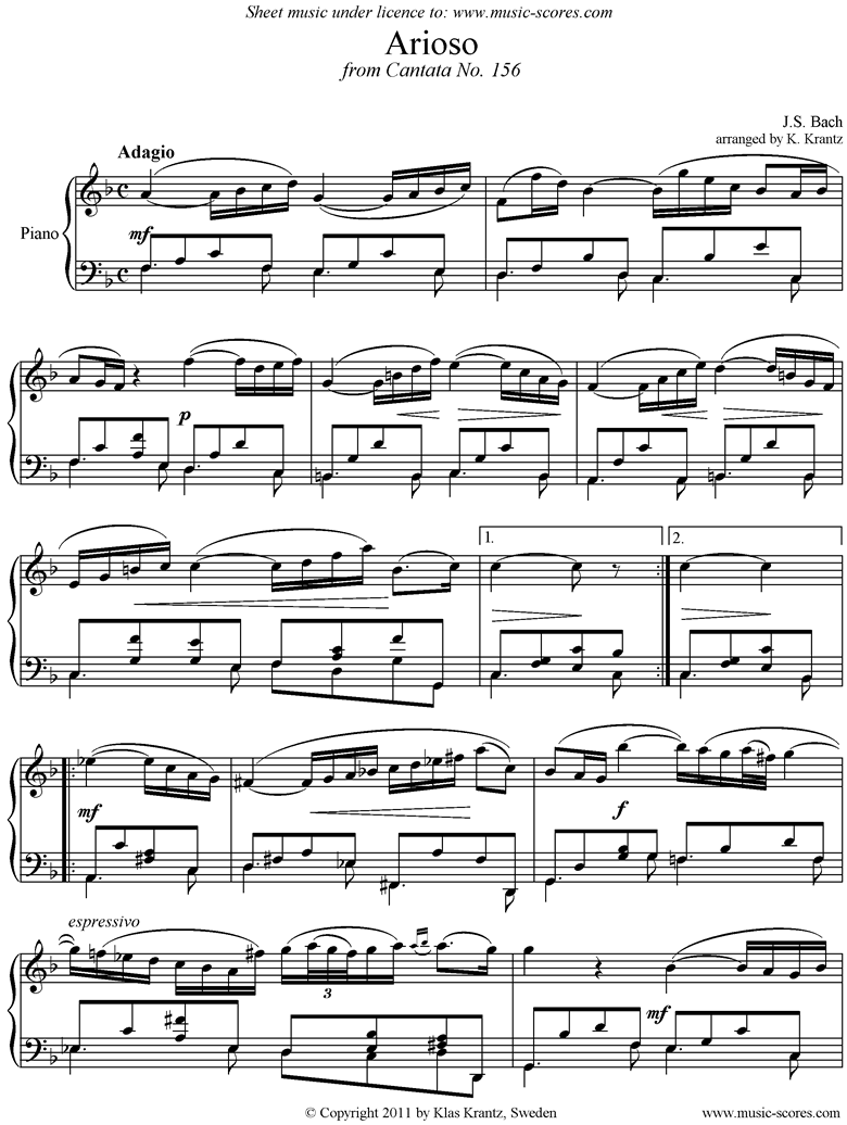 Front page of Cantata 156, 5th Concerto: Arioso: Piano sheet music