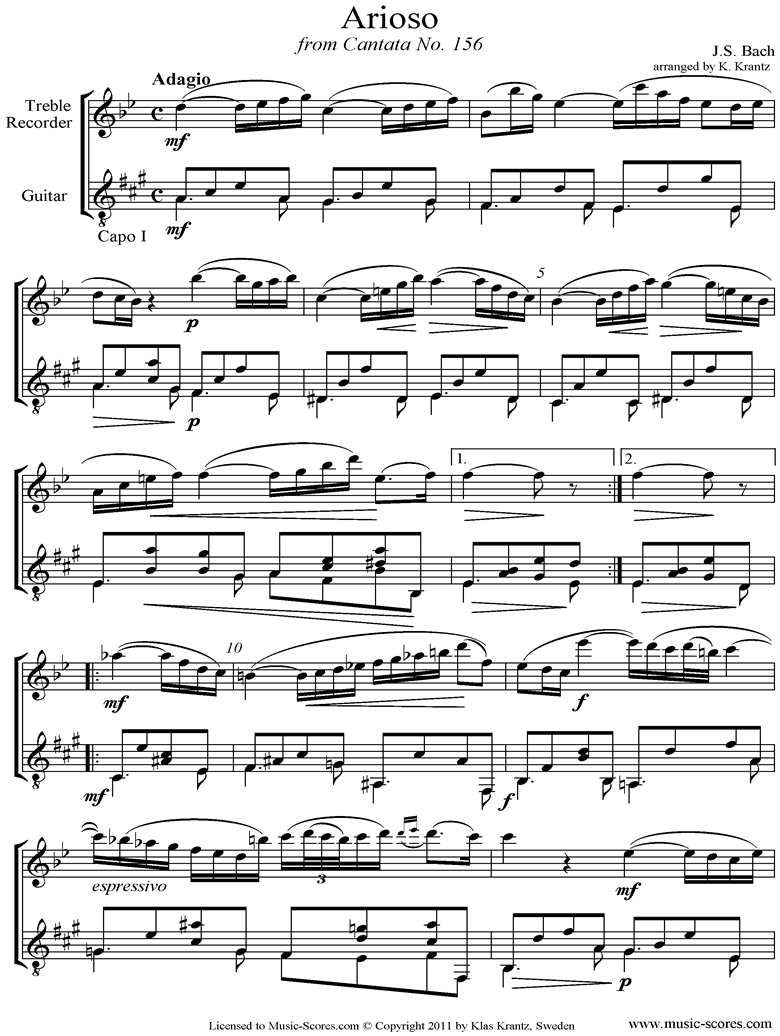 Front page of Cantata 156, 5th Concerto: Arioso: Treble Recorder, Guitar sheet music