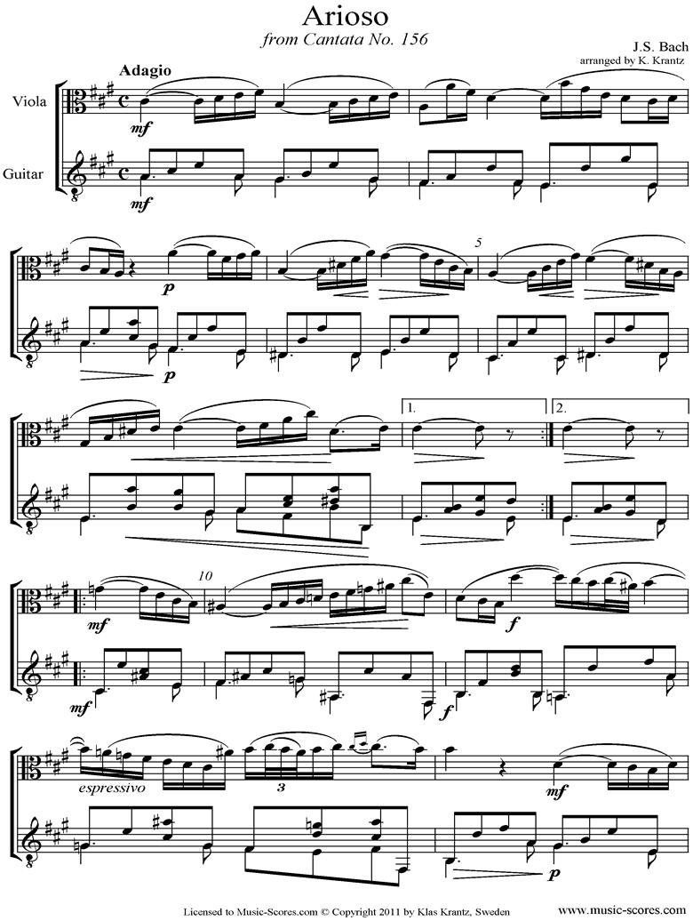 Cantata 156, 5th Concerto: Arioso: Viola, Guitar by Bach