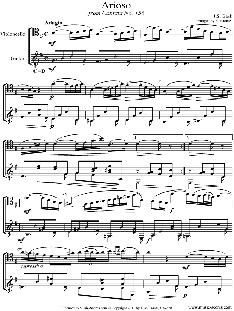 Cantata 156, 5th Concerto: Arioso: Cello, Guitar by Bach
