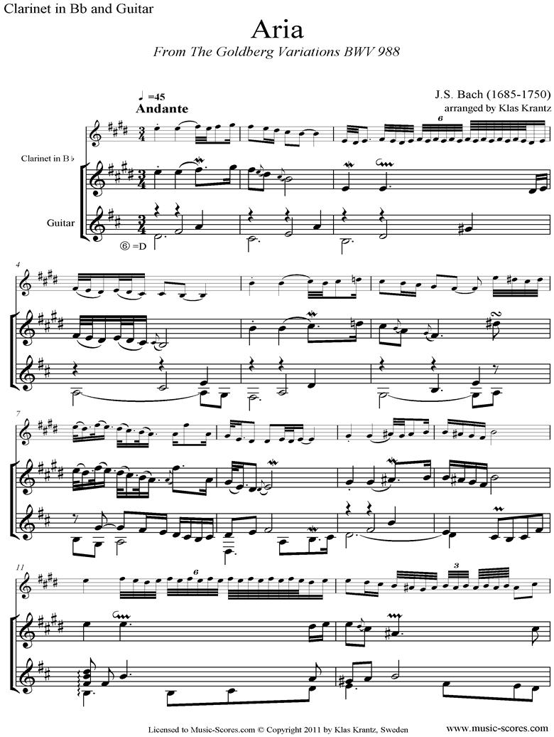 Goldberg Variations: No. 00 Aria: Clarinet, Guitar by Bach