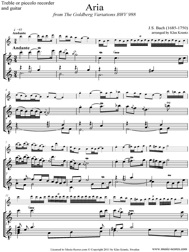Goldberg Variations: No. 00 Aria: Treble Recorder, Guitar by Bach