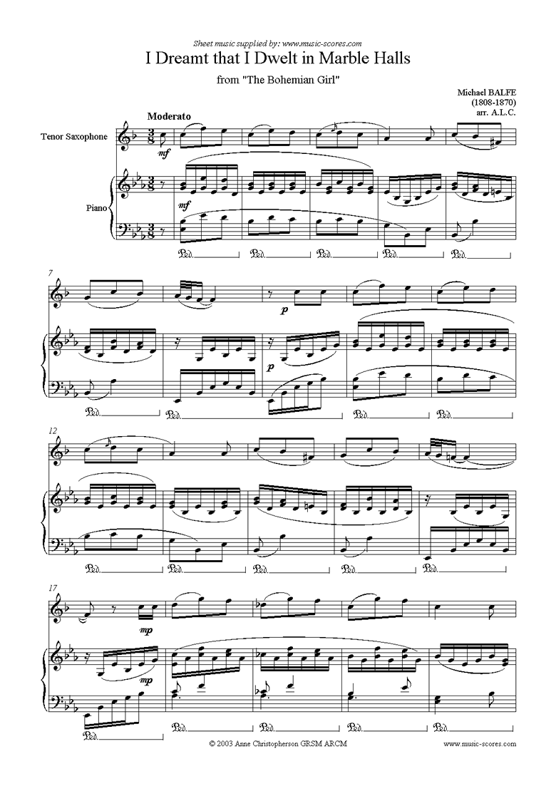 Front page of I Dreamt that I Dwelt in Marble Halls: Tenor Sax sheet music