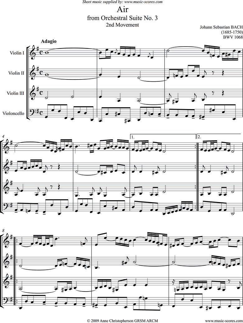 Front page of bwv 1068: Air on G: 3 Violins and Cello sheet music