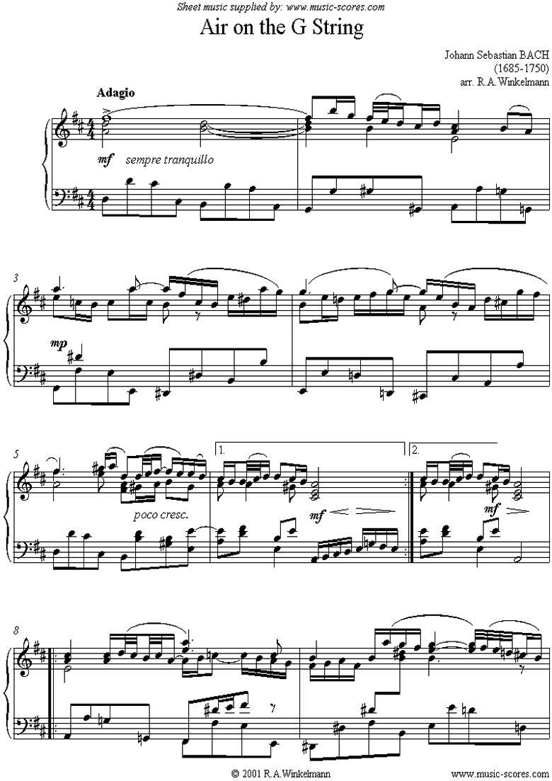 Front page of Orchestral Suite No.3, 2nd mvt: Air on G: piano sheet music