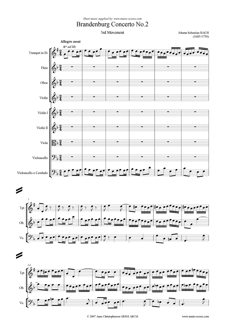 Front page of Brandenburg Concerto No. 2: 3rd Movement sheet music