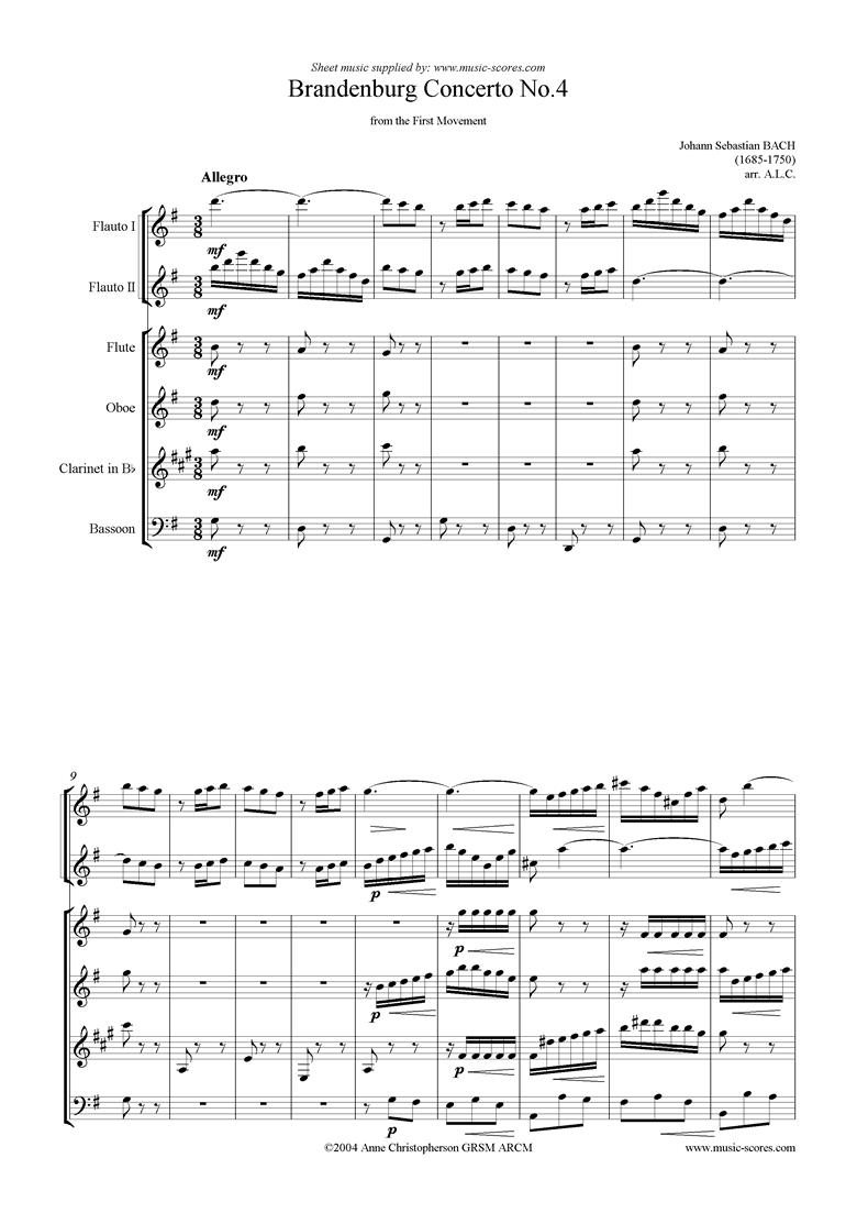 Front page of Brandenburg 4: 1st mvt abridged: 2fl, fl ob cl fg sheet music