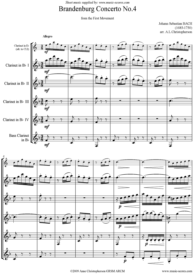 Front page of Brandenburg 4: 1st mvt abridged: 4cls, Bass cl sheet music