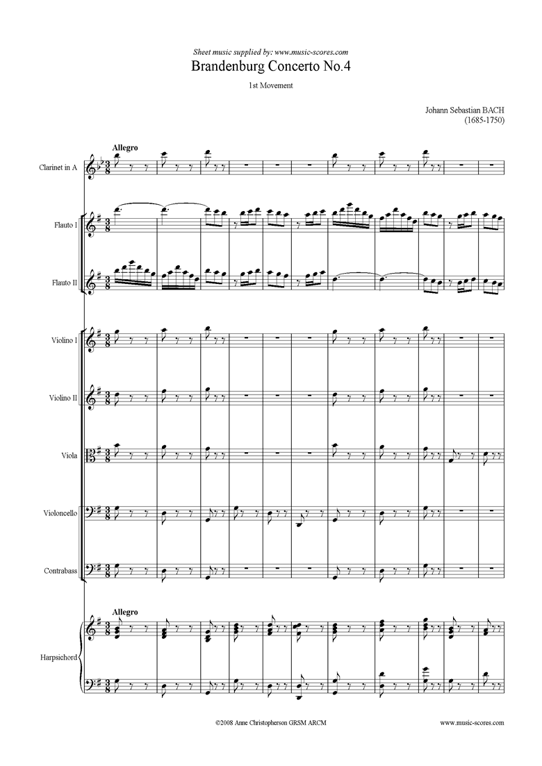 Brandenburg Concerto No. 4: 1st Mvt Clarinet in A by Bach