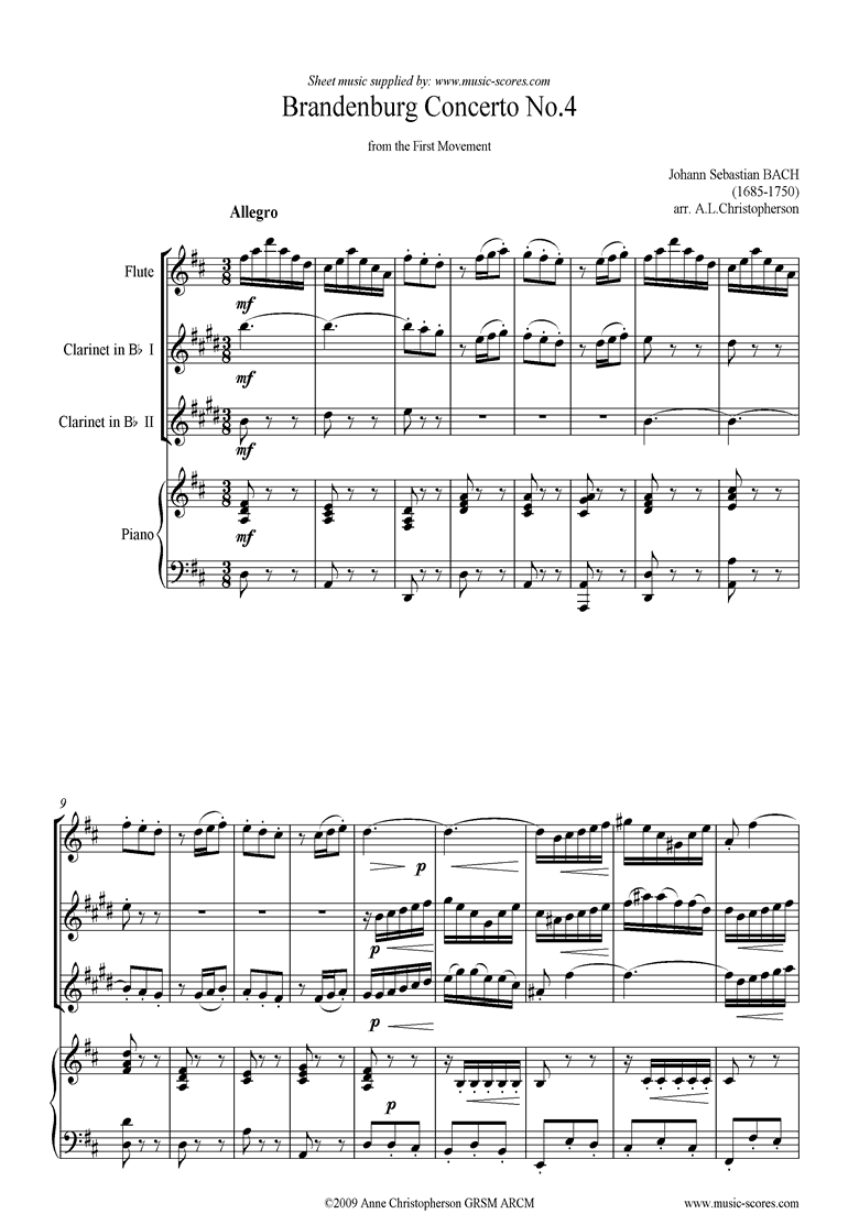 Front page of Brandenburg 4: 1st mvt: Flute, 2 Clarinets, Piano sheet music