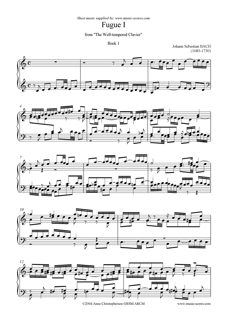 Front page of Well Tempered Clavier, Book 1: 01b: Fugue I sheet music